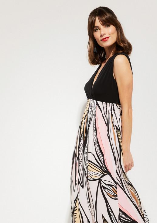 Langes Jerseykleid mit farbenprächtigem Muster