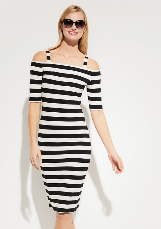 Off-the-shoulder jersey dress with a striped pattern from comma