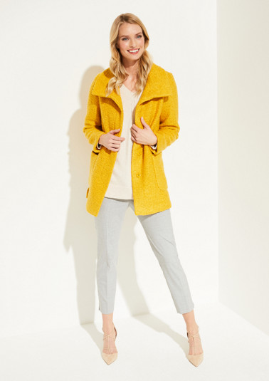 Short bouclé coat with patch pockets from comma