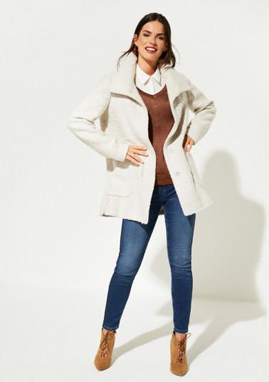 Manteau court en maille bouclette à poches plaquées de Comma