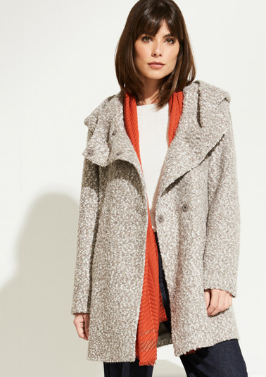 Bouclé coat with a hood from comma
