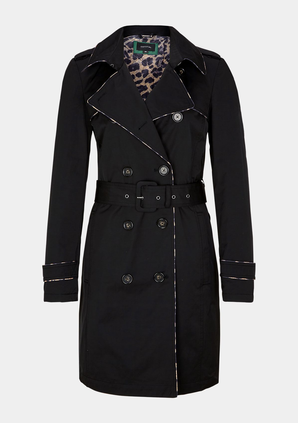 Double-breasted trench coat with a wide fabric belt from comma