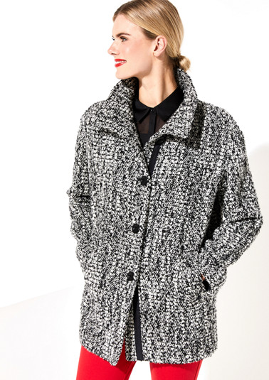 Coat with a black and white bouclé pattern from comma