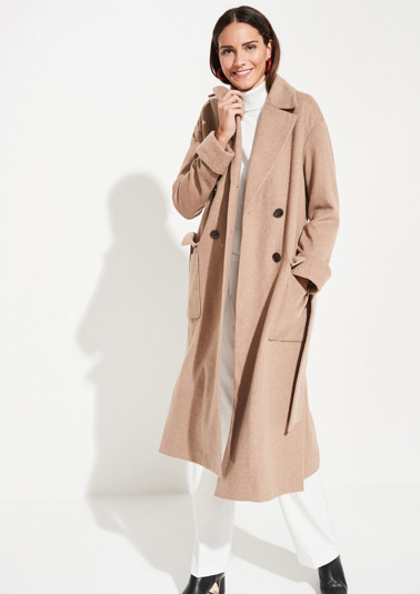 Long coat with a subtle herringbone pattern from comma