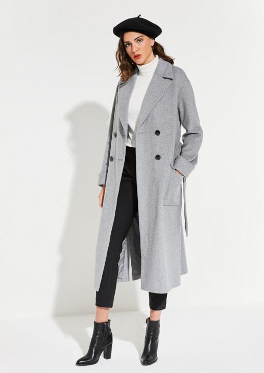 Langer Mantel mit dezentem Fischgrätmuster