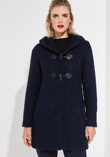 Two-tone bouclé coat with toggle fasteners from comma