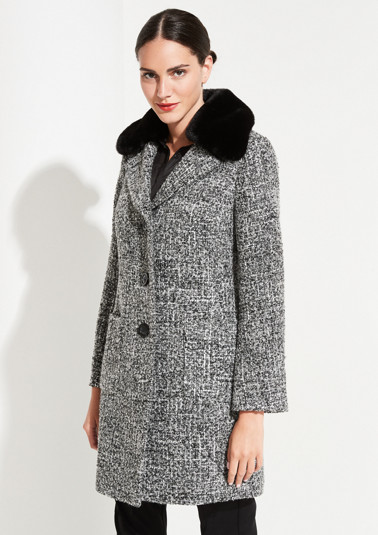 Bouclé coat with a button-off imitation fur collar from comma