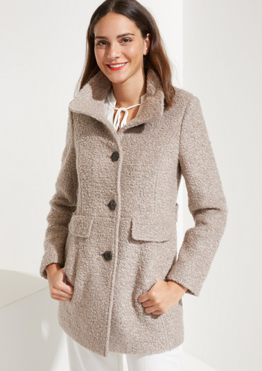 Bouclé coat with a stand-up collar from comma