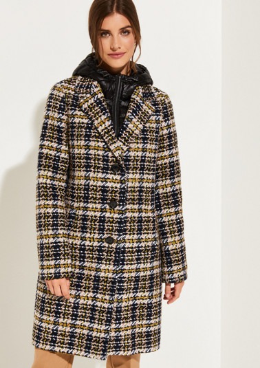Bouclé coat with a decorative check pattern from comma