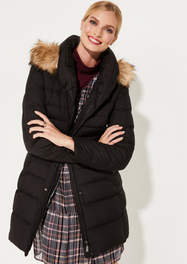 Down coat with detachable hood from comma