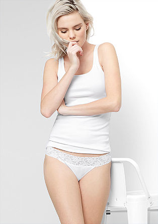 Pack of two jersey thongs with lace from s.Oliver