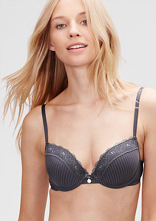Striped push-up bra with lace from s.Oliver