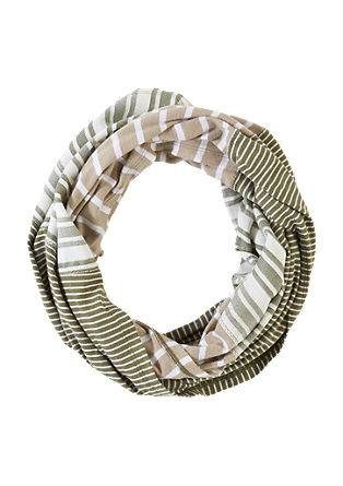 Striped snood in a mix of fabrics from s.Oliver