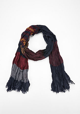 Crinkle scarf with woven stripes from s.Oliver