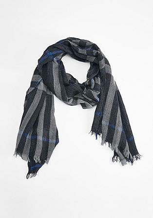 Check scarf with a crinkled finish from s.Oliver
