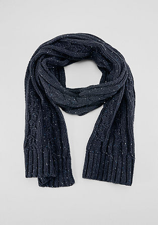 Knitted scarf with a cable pattern from s.Oliver