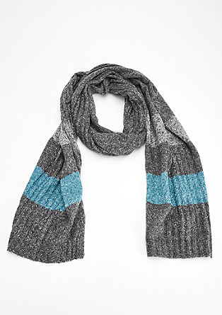 Knitted scarf with block stripes from s.Oliver