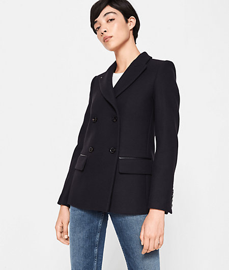 Short coat with faux leather details from liebeskind