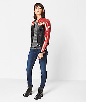 Leather jacket with color blocking from liebeskind
