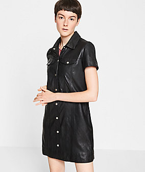 Leather dress with topstitching from liebeskind