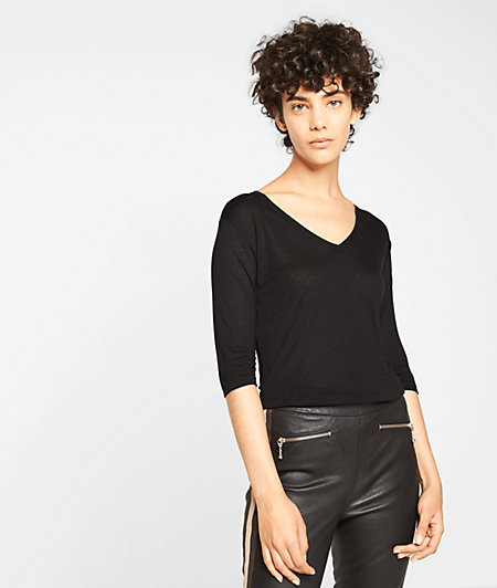 Jersey top with 3/4-length sleeves from liebeskind