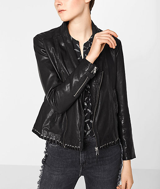 Hem Berlin leather jacket with eyelets at the hem liebeskind berlin
