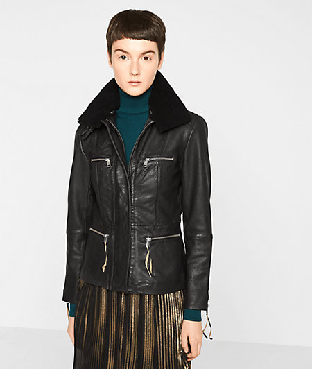 Aviator-style leather jacket from liebeskind