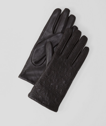 Leather gloves with embroidery from liebeskind