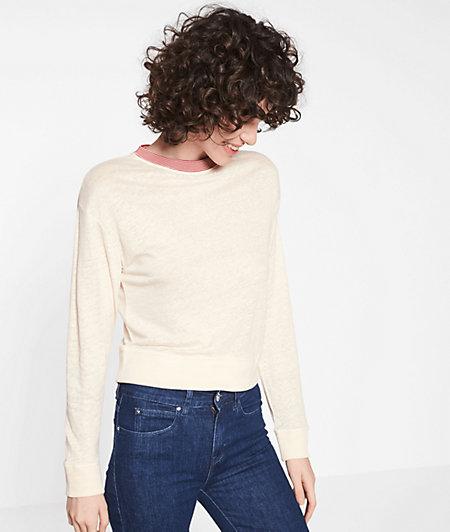 Leichter Pullover mit Feinripp-Ausschnitt