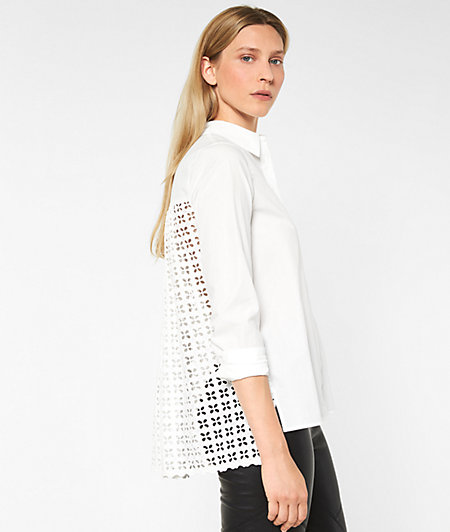 Shirt blouse with broderie anglaise from liebeskind