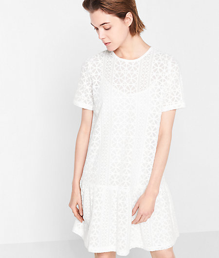 Short sleeve dress with broderie anglaise from liebeskind