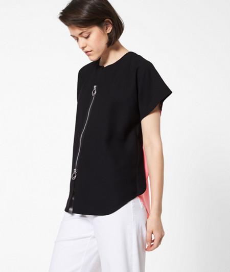 Crêpe-Shirt mit Zipper