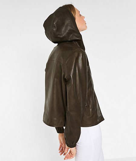 Hooded leather jacket from liebeskind