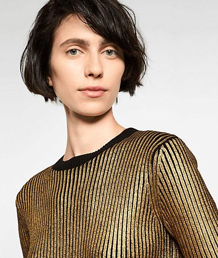 Kurzärmeliger Ripp-Pullover mit Metallicprint