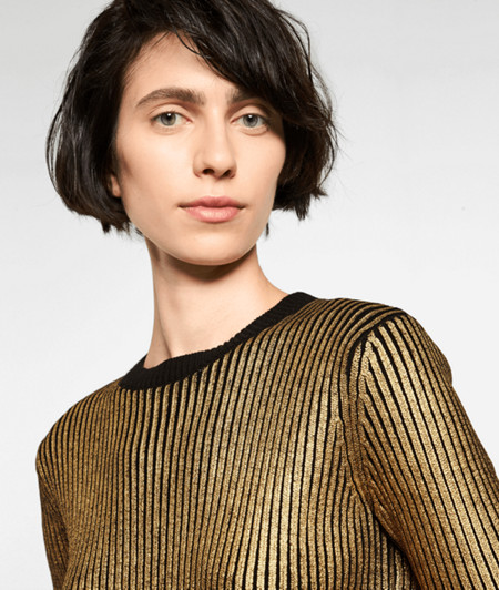 Short sleeve ribbed jumper with a metallic print from liebeskind