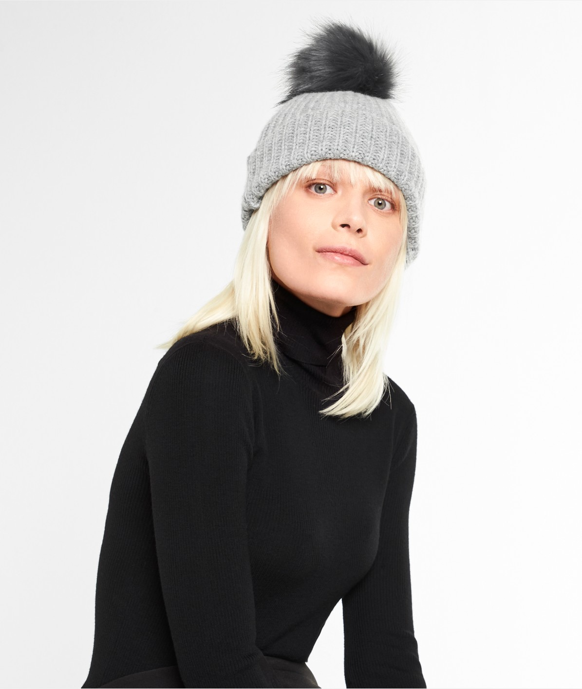 Knit hat with a pompom from liebeskind