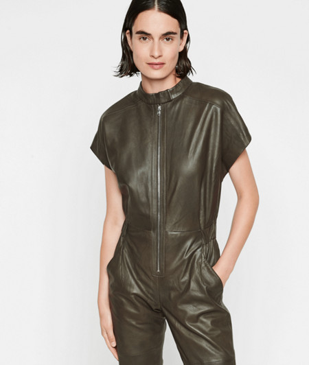Short sleeve lambskin leather jumpsuit from liebeskind