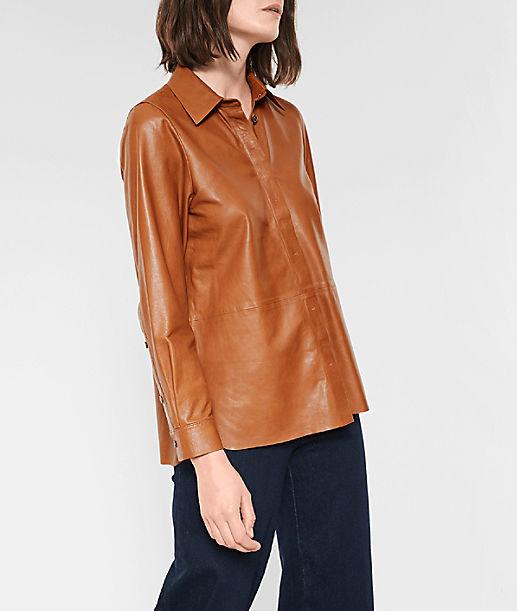 langärmelige Bluse aus Lammleder