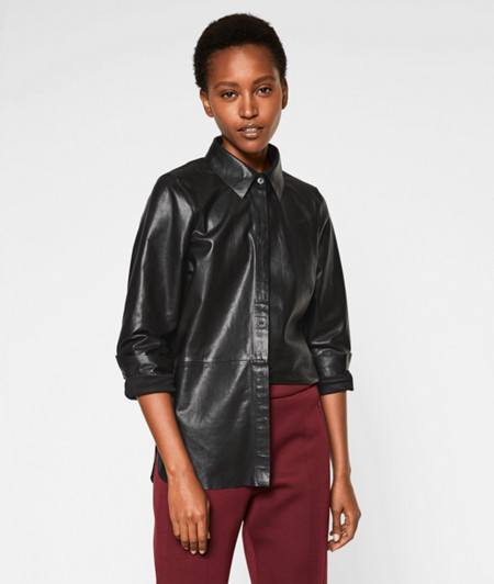 Long sleeve blouse in lamb leather from liebeskind