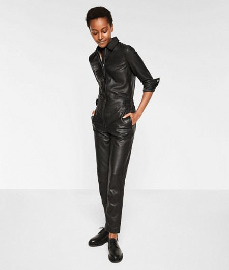 Long sleeve jumpsuit in lamb leather from liebeskind