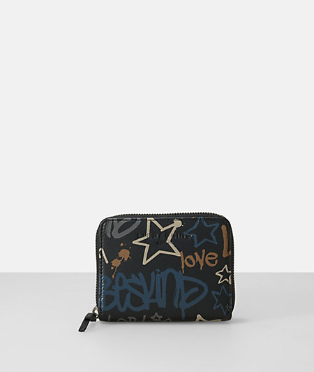 Leather graffiti print french small zip wallet from liebeskind