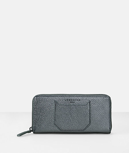 Pebbled leather large clutch zip wallet from liebeskind