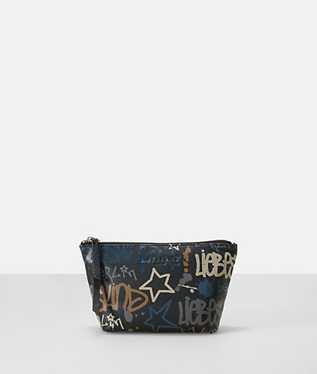 Leather graffiti print makeup bag from liebeskind