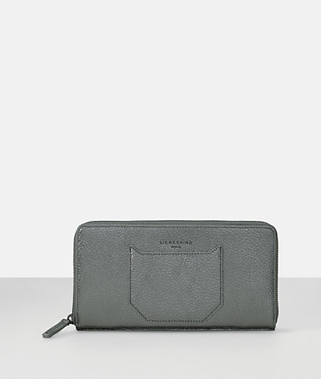 Pebbled leather clutch small zip travel passport wallet from liebeskind
