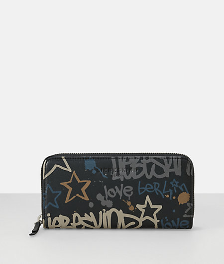 Leather graffiti print large clutch zip wallet from liebeskind