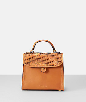 Vachetta leather woven mini top handle bag from liebeskind