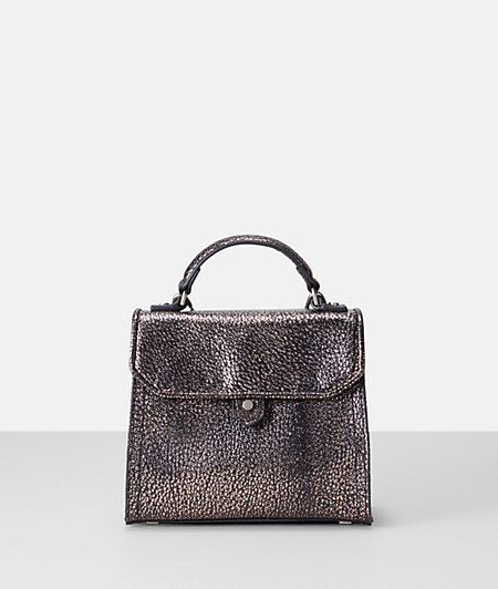 Metallic leather mini top handle bag from liebeskind