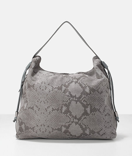 Snake embossed leather drawstring hobo bag from liebeskind