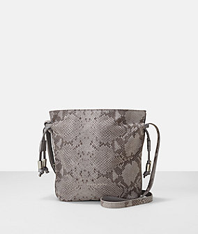 Snake embossed leather drawstring crossbody bucket bag from liebeskind