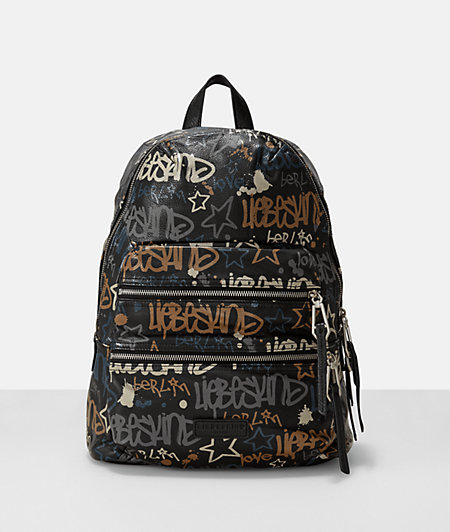 Leather graffiti print backpack from liebeskind